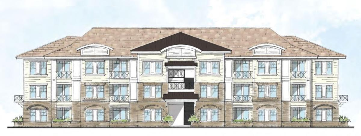 Conceptual rendering of an apartment building