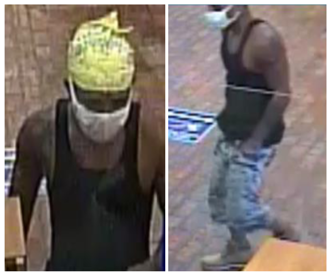 The suspect wanted in connection with an armed robbery at First National Bank in Southern Pines.