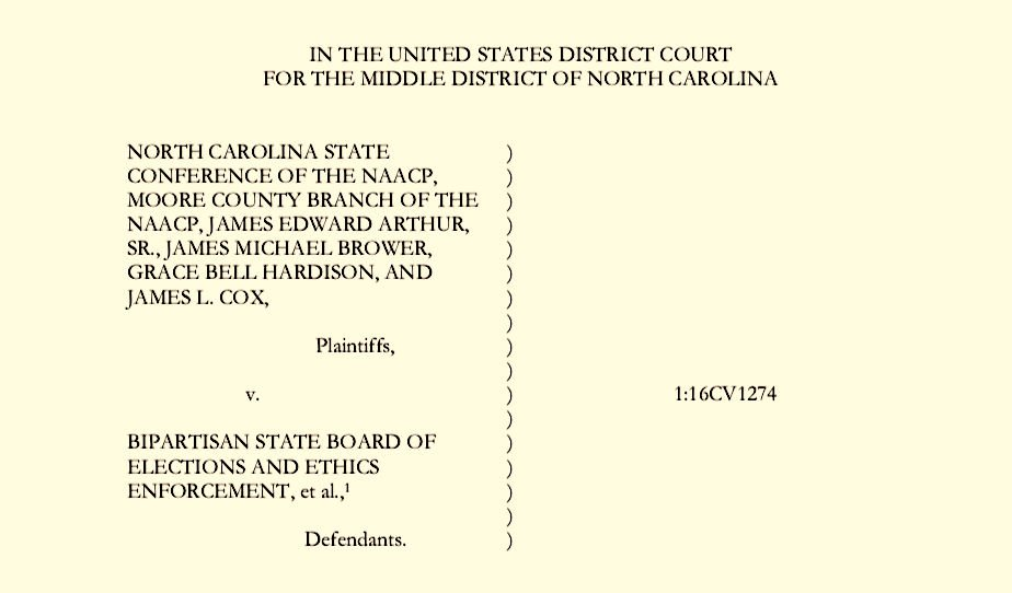 Court Decision in Moore County NAACP Vs NC Board of Elections