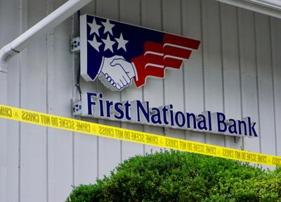 First National Bank in Southern Pines was cordoned off with police tape following a bank robbery on Sept. 14, 2020.