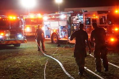 Firefighters at Aberdeen Fabrics on April 23, 2021.