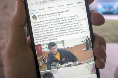 The Southern Pines Police Department announced that a larceny suspect was arrested after being identified by Facebook users
