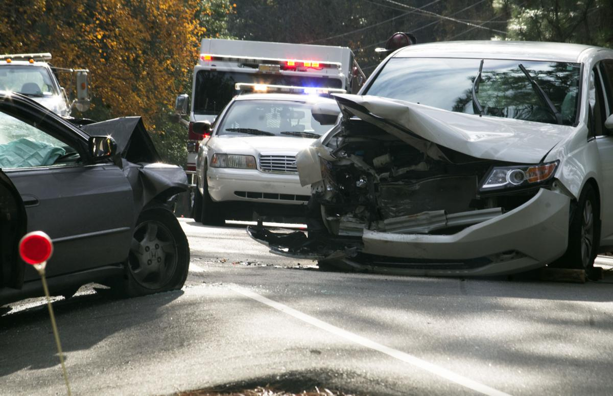 Vehicles damaged in a head-on collision in Southern Pines