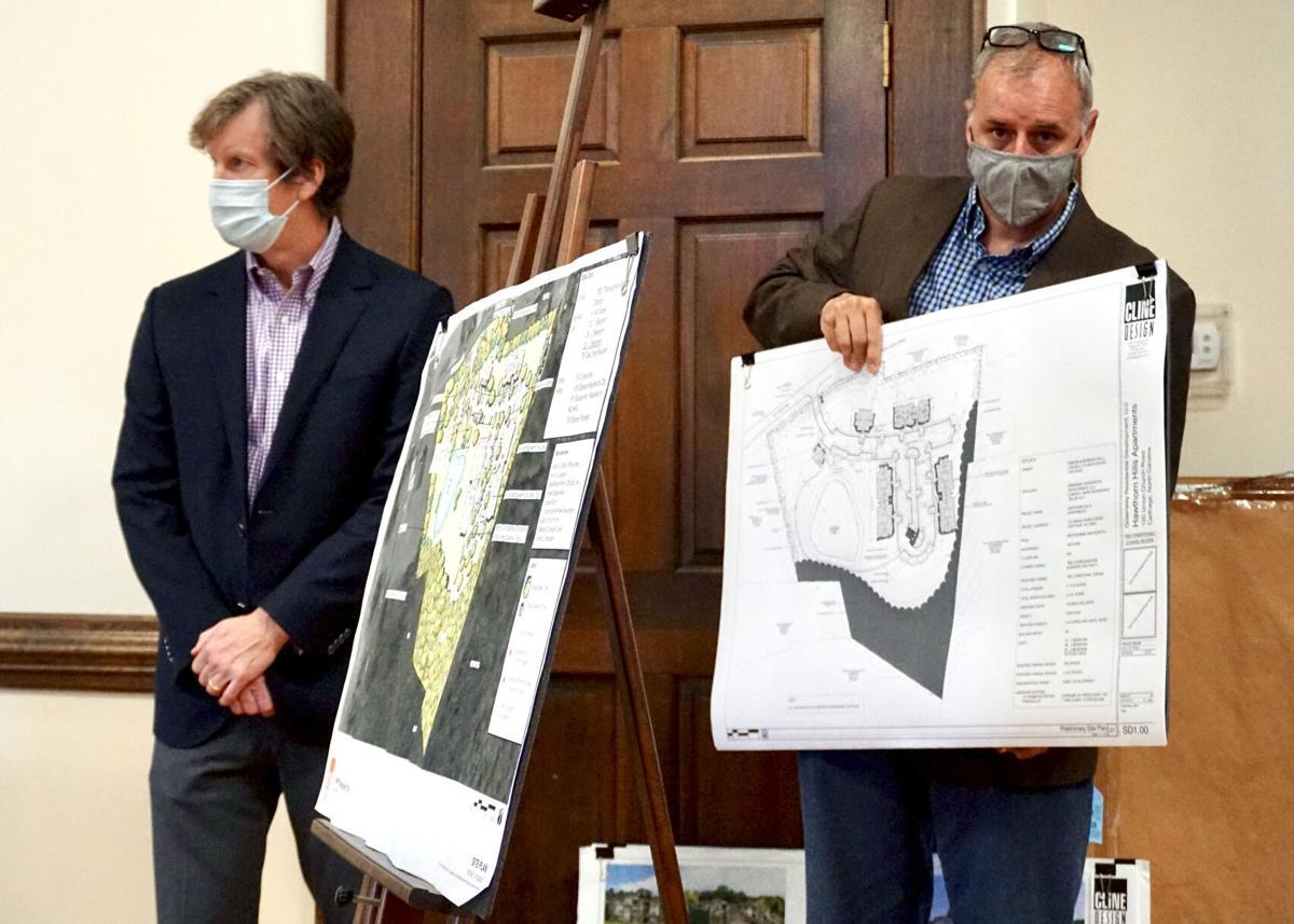 Mark Richardson of Greenway Residential Development, left, and Chris Tingler of Cline Design.