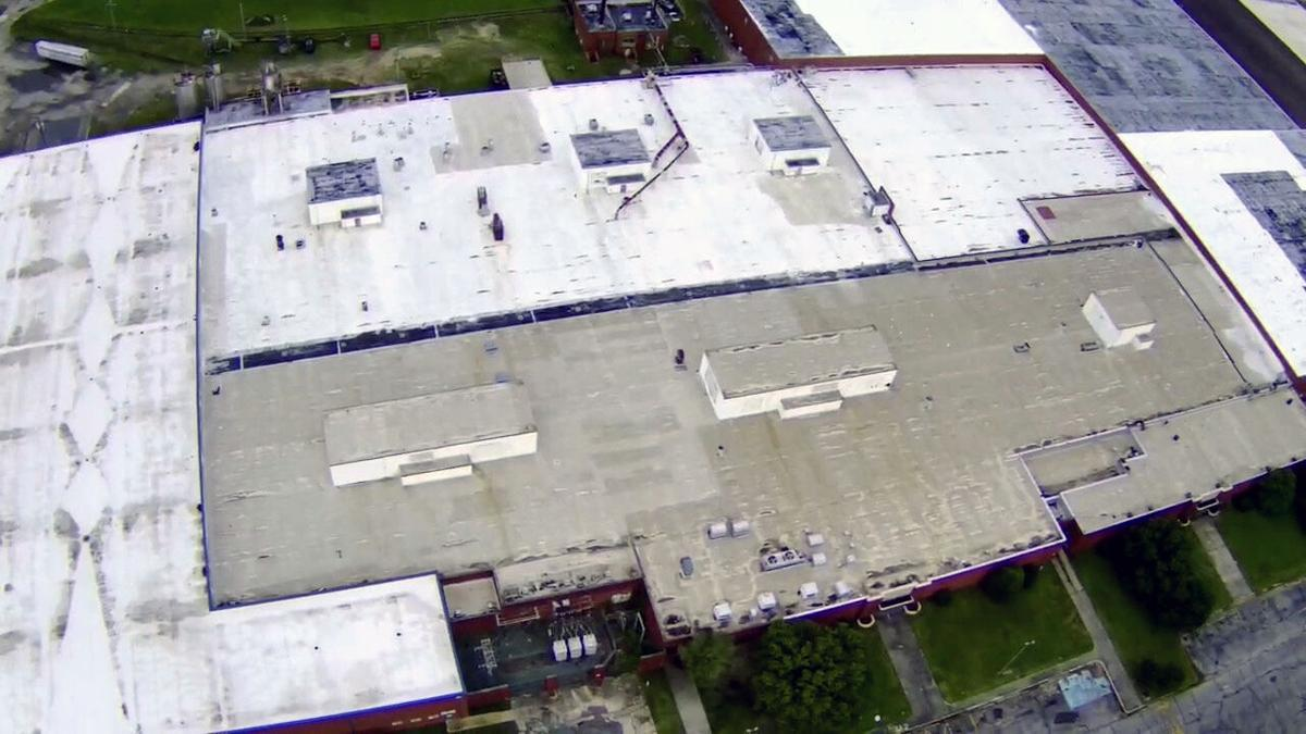Aerial view of the former Gulistan Carpet plant in Aberdeen