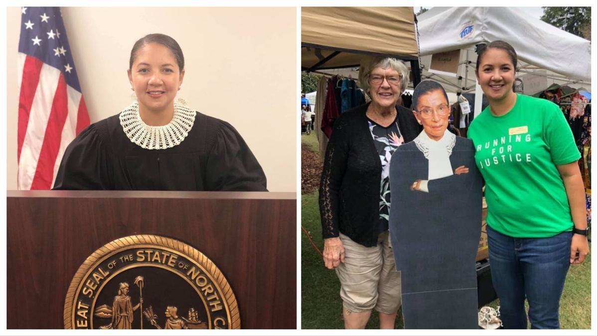 Judge Tiffany Bartholomew wears a Ginsburg-inspired collar