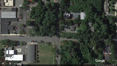 Aerial view of a parcel at the corner of South Bennett Street and West New York Avenue in downtown Southern Pines.