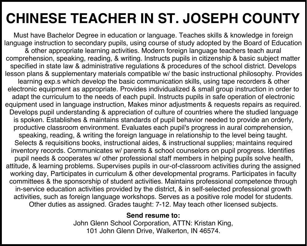 CHINESE TEACHER IN ST. JOSEPH COUNTY