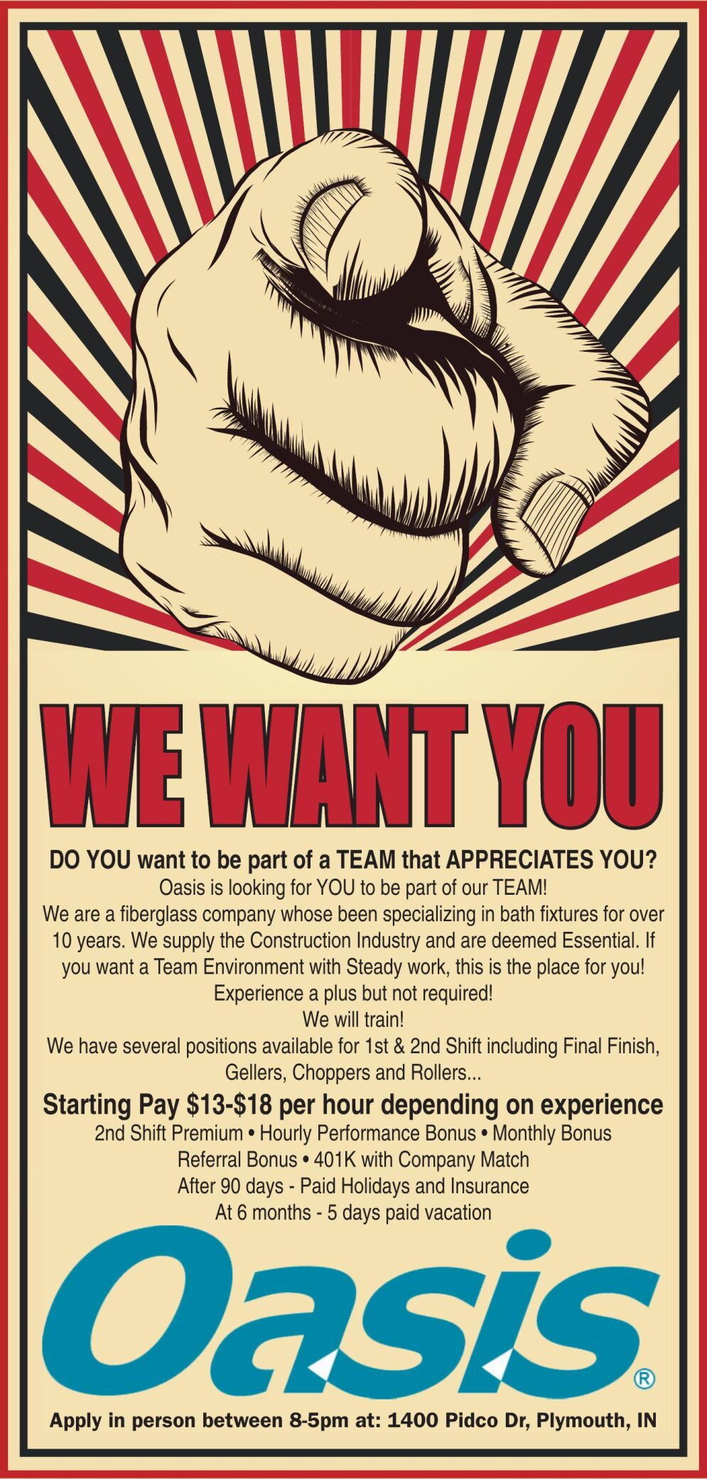 We have several positions available for 1st & 2nd Shift including Final Finish, Gellers, Choppers and Rollers...