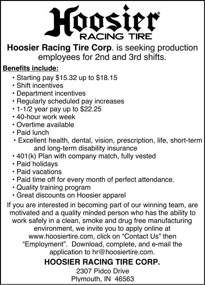 Hoosier Racing Tire Corp. is seeking production