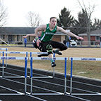 Bremen Evan Manges runs hurdles