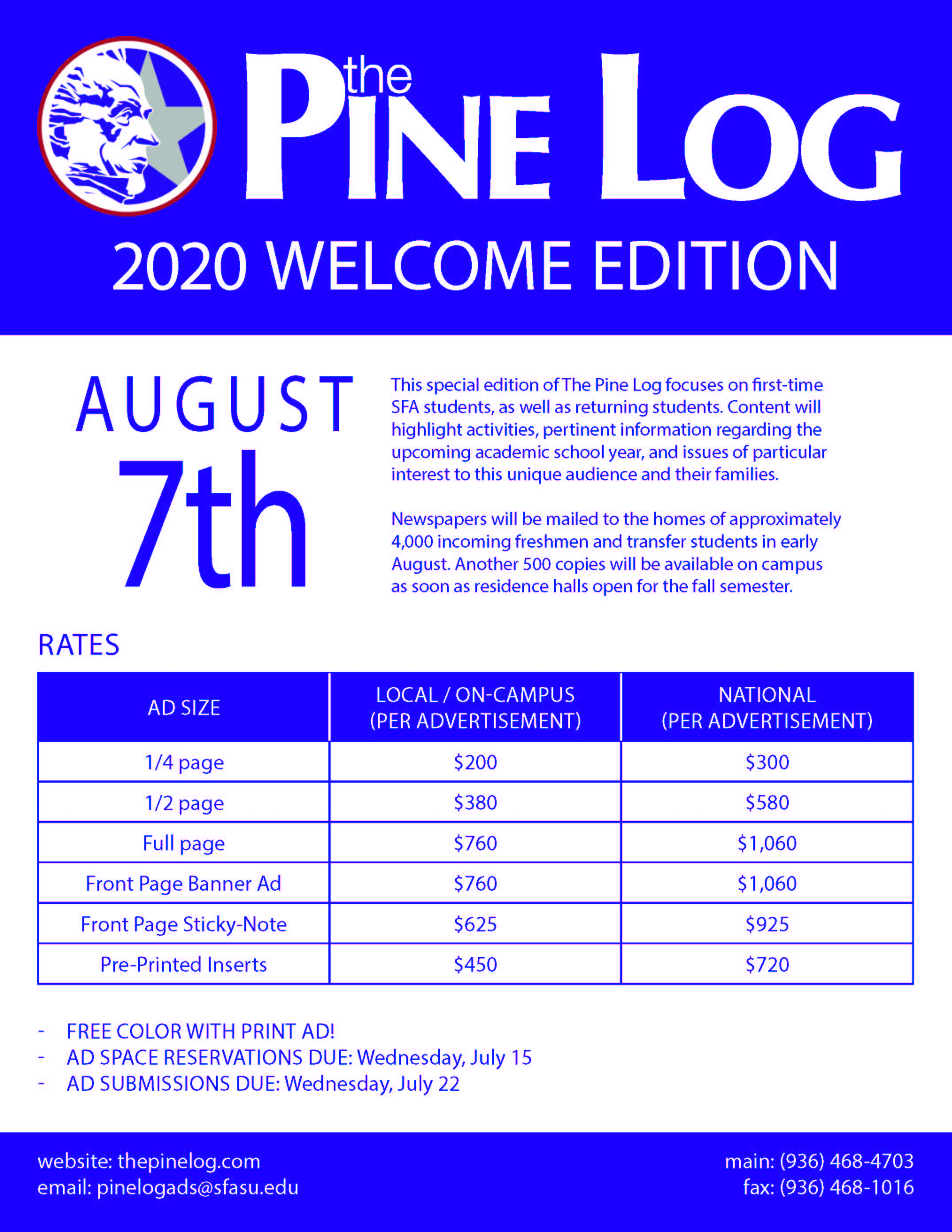 2020 Welcome Edition Flier
