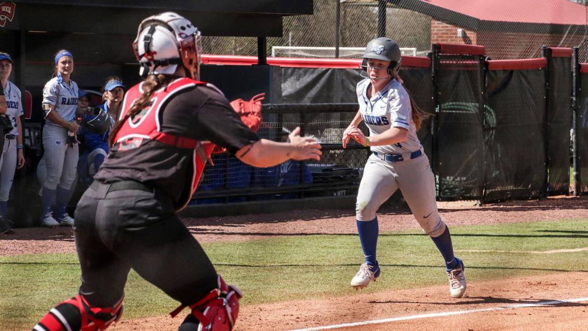 Keely McGee looks to score a run for the Blue Raiders against CUSA foe Western Kentucky.