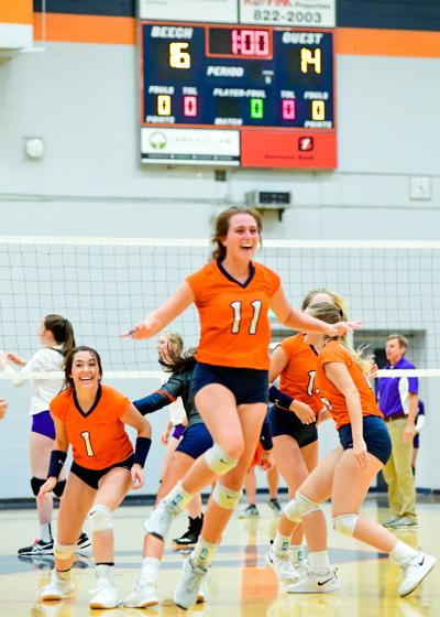 Beech celebrates the 16-14 fifth set victory over Portland.