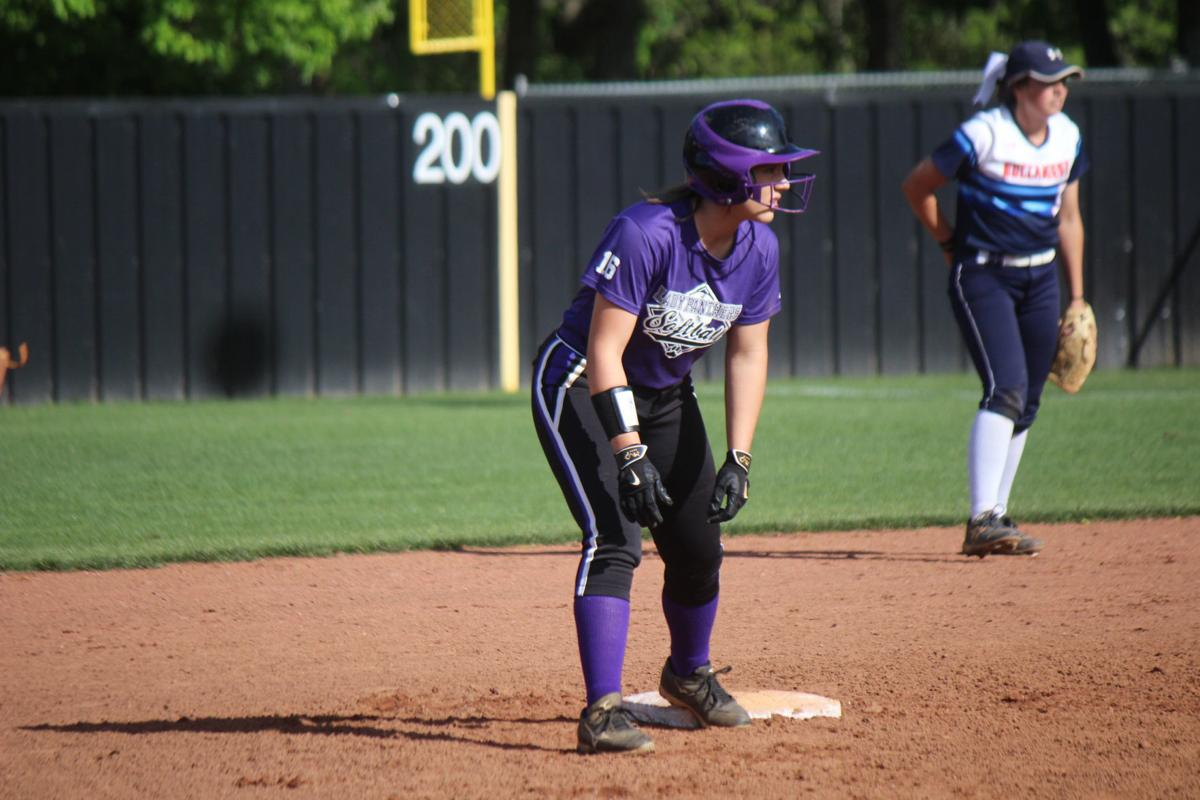 Abbie Tomlinson stands on second base during a game in 2019..jpg