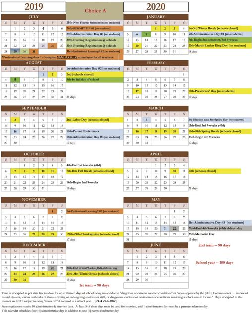 Bedford County School Calendar 2019 Sumner's 2019 20 school year calendar set | Education
