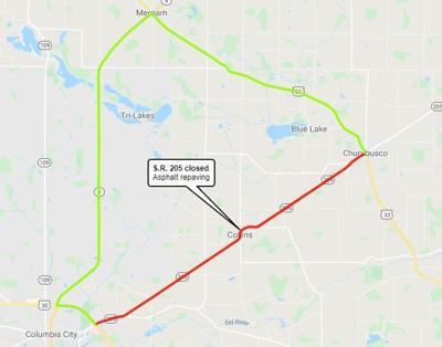 Ind. 205 road closure