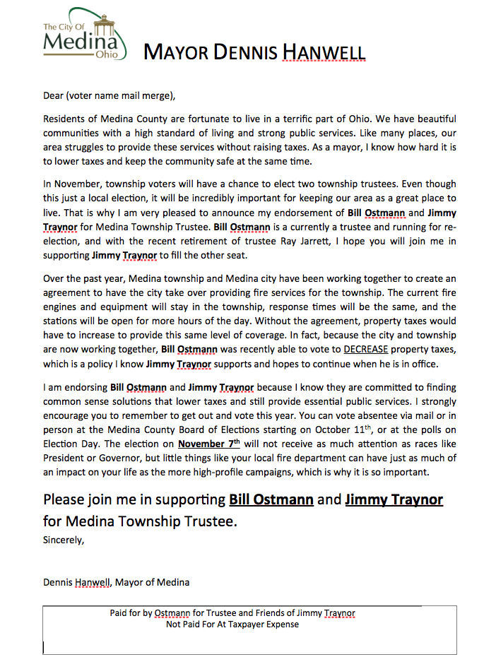This Draft Of A Letter Which Was Eventually Sent To Medina Township Voters  Endorsing Medina Township Trustee Candidates William Ostmann And Jimmy  Traynor ...