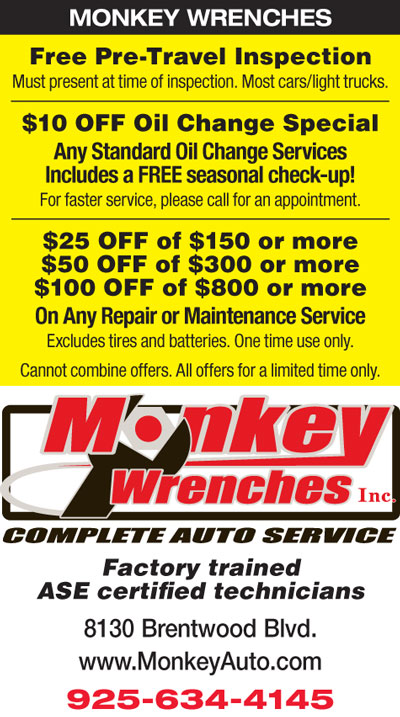 FREE Inspection / $10 Off Oil Change Special / up to $100 Off Repair or Maintenance at Monkey Wrenches
