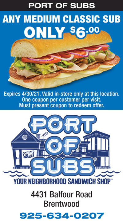 Any Medium Classic Sub only $6.00 at Port of Subs