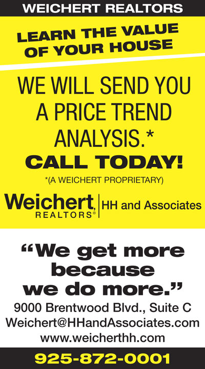 Learn the value  of your house. We will send you a Price Trend Analysis from Weichert Realtors