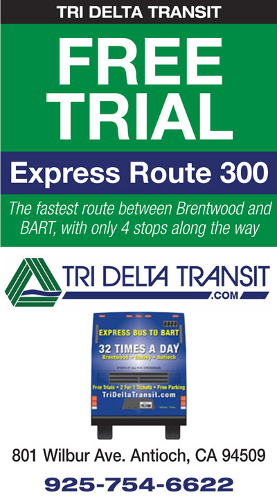 FREE Trial on Express Route 300 to BART on Tri Delta Transit