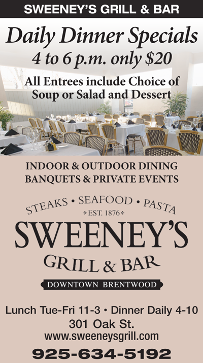 Daily Dinner Specials only $20 at Sweeney's Grill & Bar