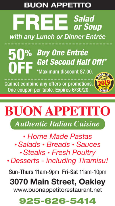 FREE Salad or Soup with Entrée / Buy one Entrée, Get the Second 50% OFF at Buon Appetito