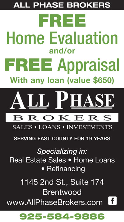 FREE Home Evaluation and/or FREE Appraisal with any loan from All Phase Brokers