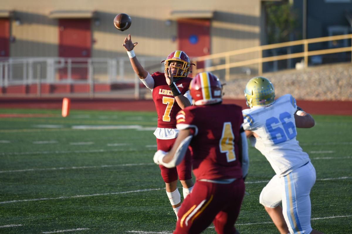 Liberty sophomore quarterback Nate Bell (7) releases the ball at the 14th annual Brentwood Bowl in Brentwood, Calif., Friday, April 16, 2021. (Ken Boone/The Press)