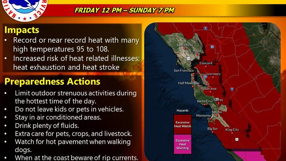 Sizzling hot temperatures expected for inland Bay Area locations