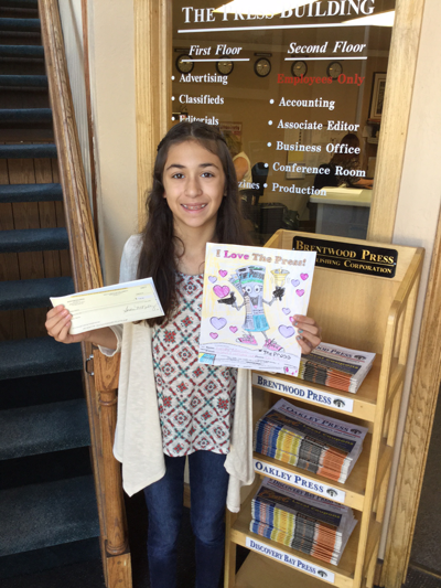 Gabby Garcia won Brentwood Press & Publishing's 2015 Annual Coloring Contest