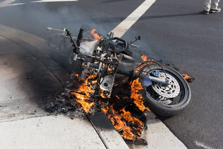 motorcycle fire pictures  Fire destroys motorcycle in Brentwood | | thepress.net