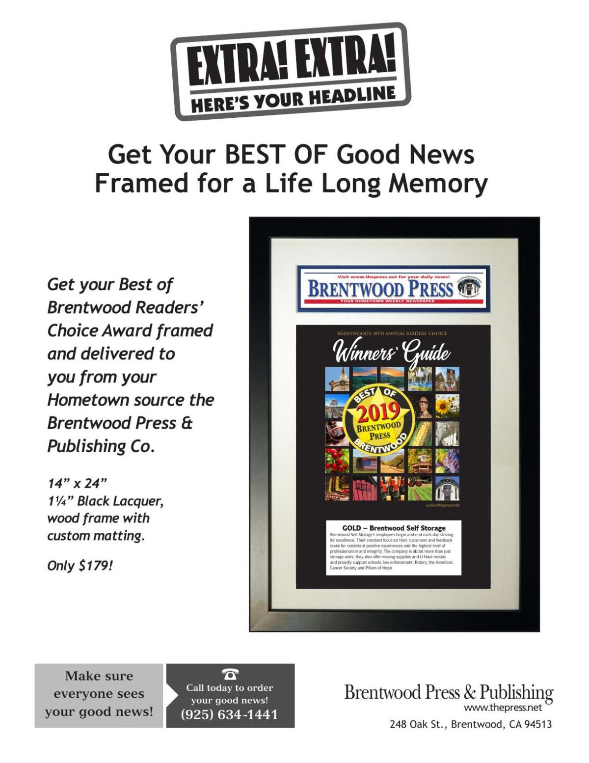Get your Best of Brentwood Readers' Choice Award framed!