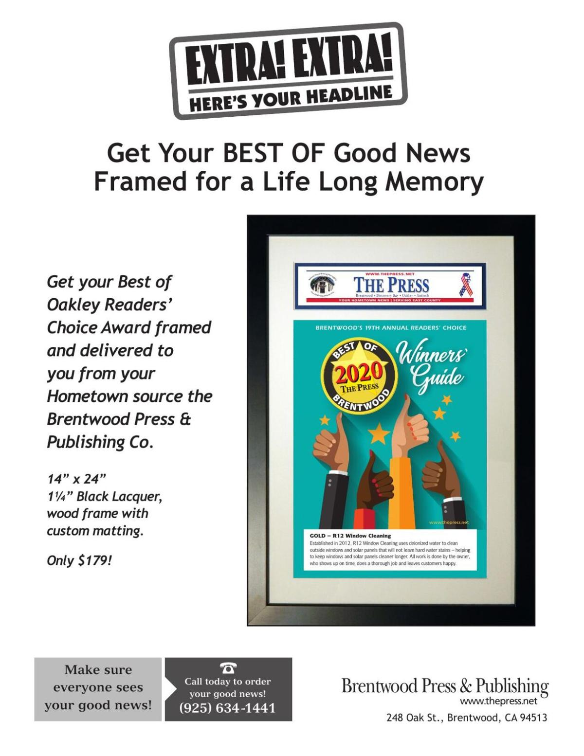Get your Best of Oakley Readers' Choice Award framed!