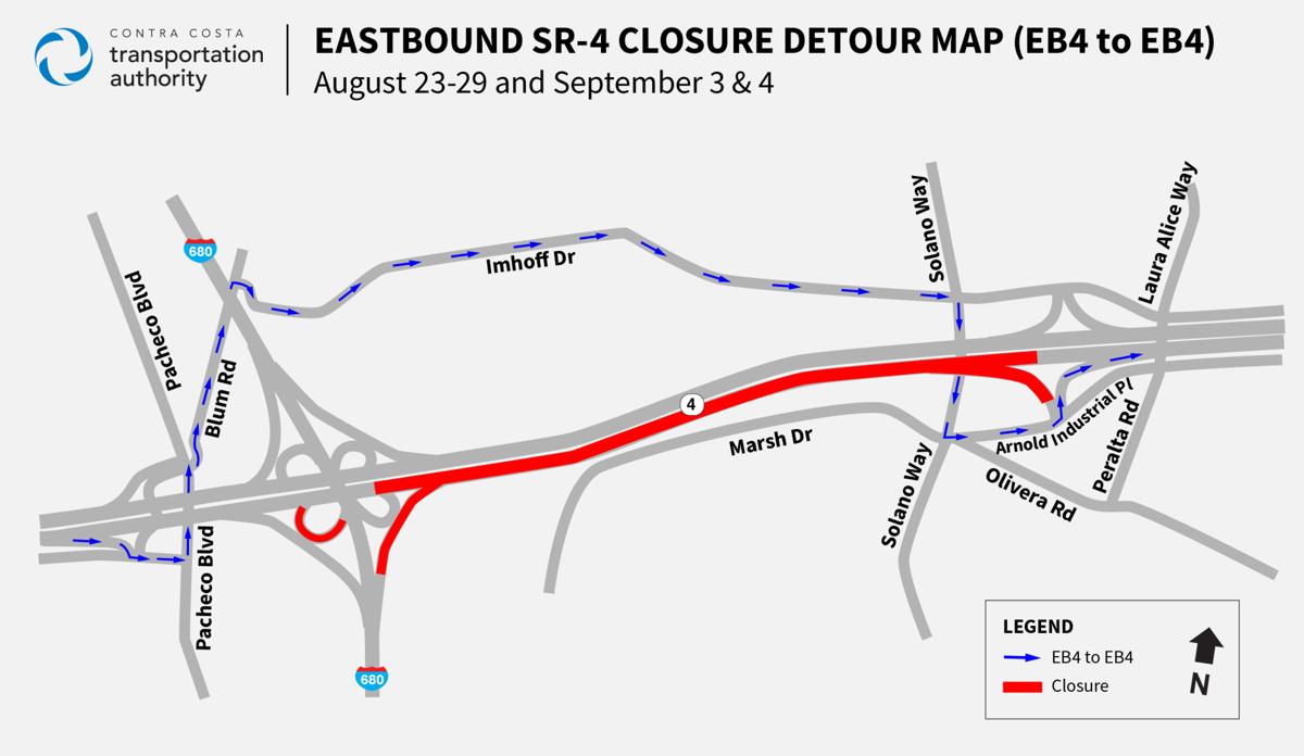 EB 4 road closure map
