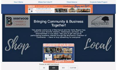 Brentwood Chamber of Commerce Gift Card Program up and running