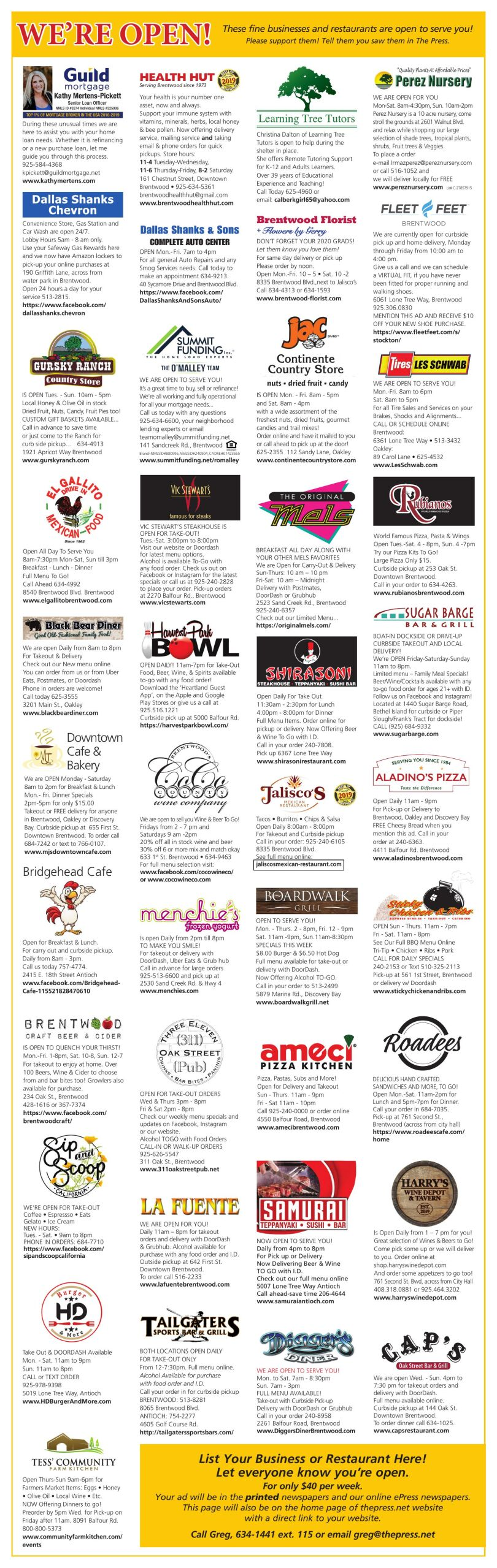 We're Open! These fine businesses and restaurants are open to serve you!
