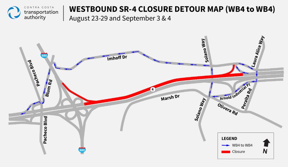 WB Hwy 4 road closure map