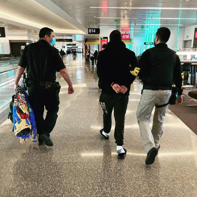 Brentwood PD arrest at airport
