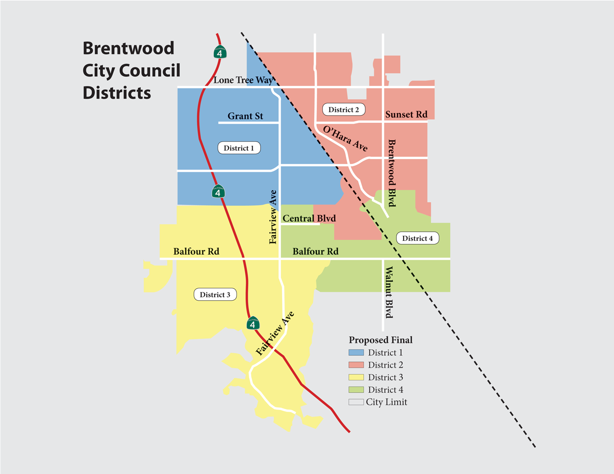 Brentwood City Council District Election Map