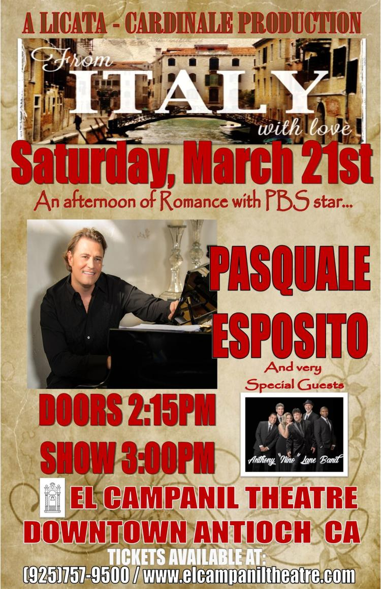 From Italy With Love: An Afternoon of Romance w/PBS Star, PASQUALE ESPOSITO & Special Guest, The Anthony Nino Lane Band