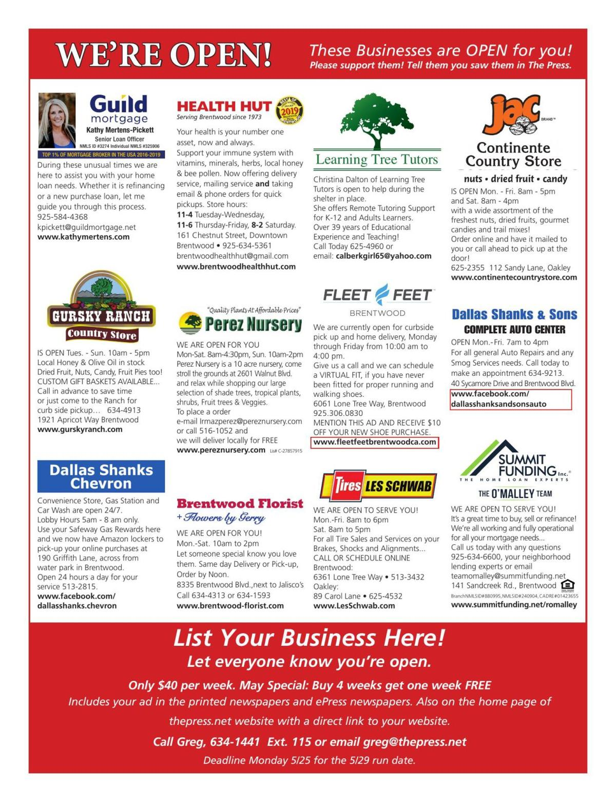 We're Open! These professional businesses are ready to help you!