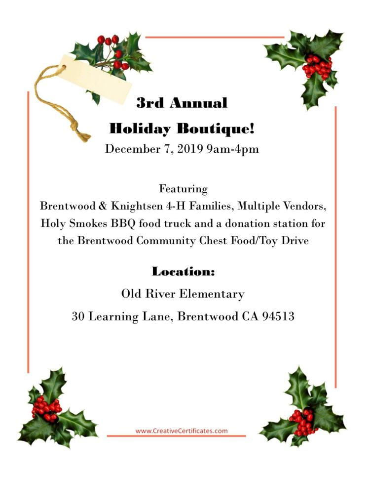 2019 Holiday Boutique Flyer