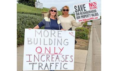Kathy Griffin and Diana Harris protest proposed rezoning of golf courses