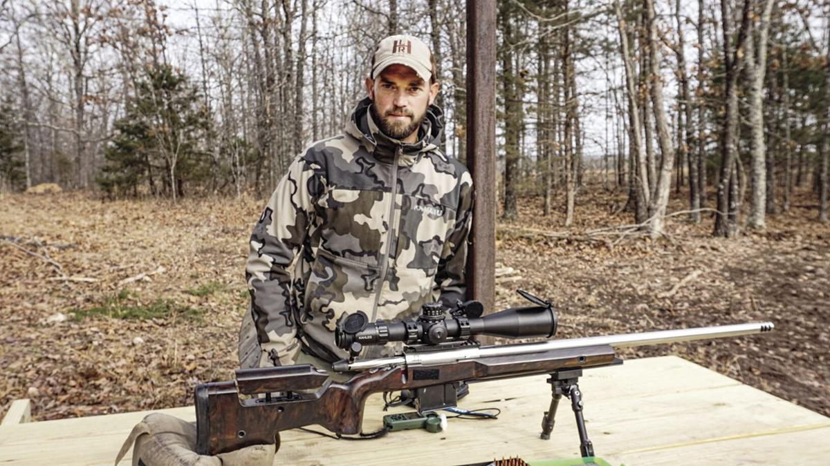 Caleb Gidcumb talking about shooting sports at his private range.
