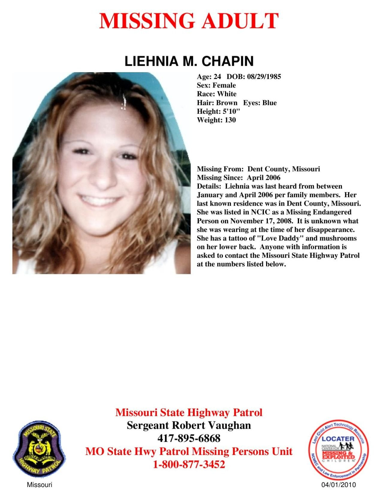 Download PDF Lena Chapin Missing Person Poster  Missing Persons Posters