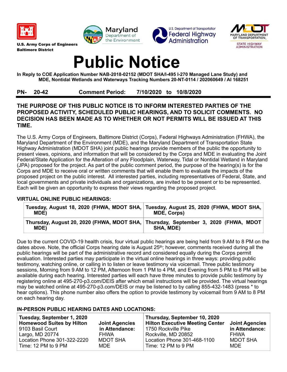 Public Notice - State of Maryland