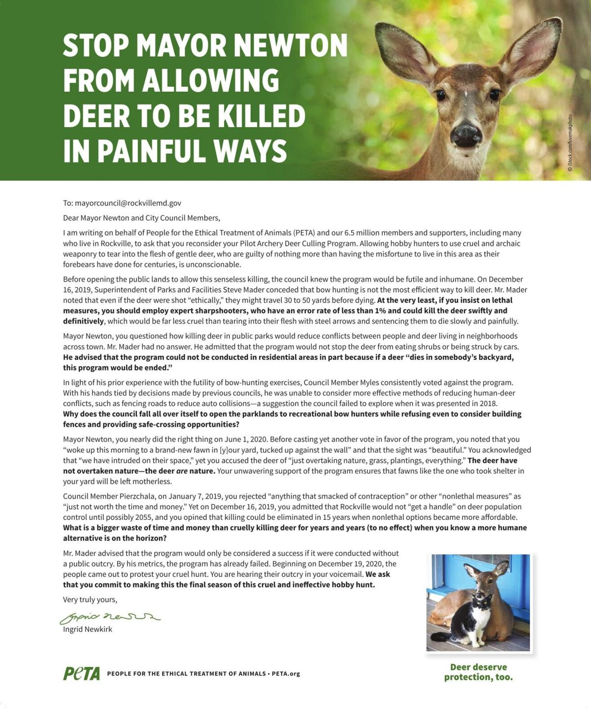 Stop Mayor Newton From Allowing Deer To Be Killed In Painful Ways