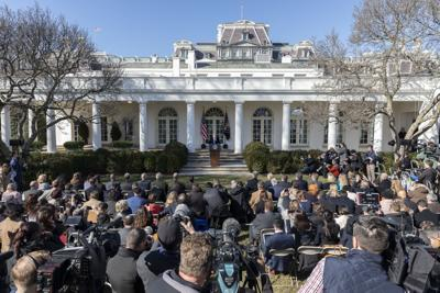 President Donald J. Trump delivers remarks Friday, Feb. 15, 2019, in the Rose Garden of the White House, on the national security and humanitarian crisis on the southern border of the United States